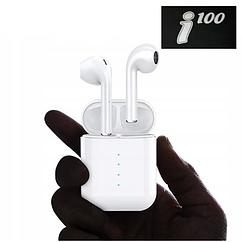 Бездротові Bluetooth-навушники у білому кейсі i100