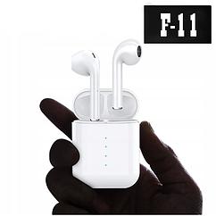 Бездротові Bluetooth-навушники у білому кейсі F11