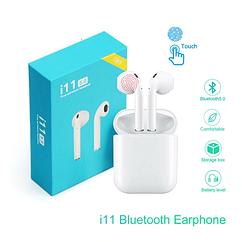 Бездротові Bluetooth-навушники у білому кейсі i11