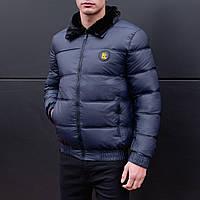 Куртка зимняя мужская с мехом Kadenki до - 8*С теплая темно-синяя   Пуховик мужской зимний ЛЮКС качества