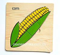 Деревянные пазлы-вкладыши кукуруза, 15х15см,вкладыши