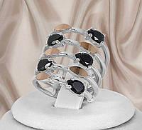 """Гарне широке срібне кільце 925 проби з золотими пластинами і чорними фіанітами """"305"""", фото 1"""