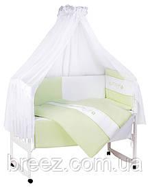 Детская постель Tuttolina Duo Hearts (7 элементов) 4 салатовый с белым (узор и сердечки)