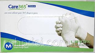 Перчатки латексные смотровые нестерильные припудренные/ размер М/ Care 365