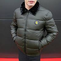 Куртка зимняя мужская с мехом Kadenki до - 8*С теплая хаки   Пуховик мужской зимний ЛЮКС качества