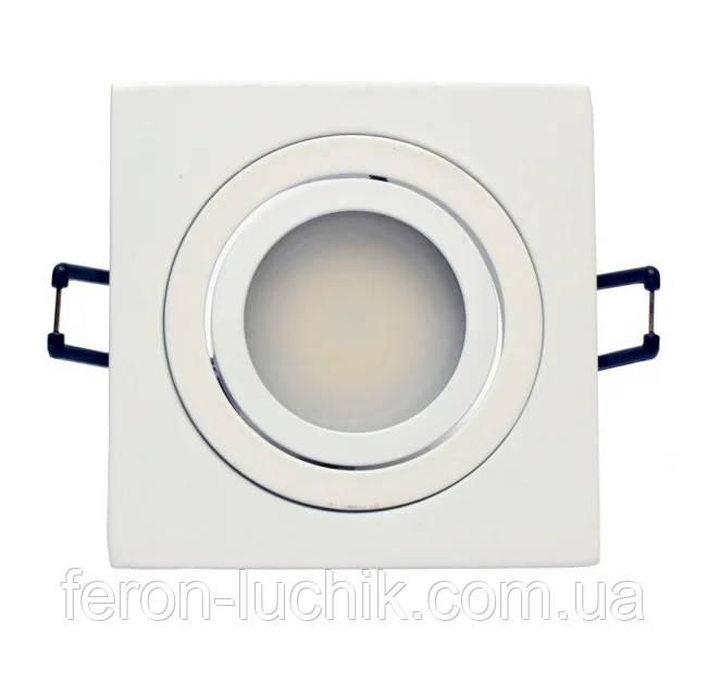 Встраиваемый светильник точечный белый квадратный поворотный Aluminium