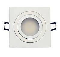Встраиваемый светильник точечный белый квадратный поворотный Aluminium, фото 1