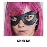 Маска из натуральной кожи с вырезами для глаз M-1. Бдсм. Ролевые игры., фото 2