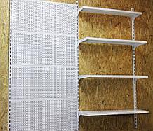 Торговый металлический стеллаж настенный высотой 1900мм шириной 2000 мм