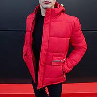 Зимняя куртка мужская до - 10*С теплая с капюшоном красная   Пуховик мужской зимний ЛЮКС качества
