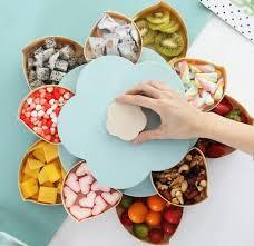 Обертальна складна цукерниця SUNROZ Flower Candy Box для цукерок та фруктів Блакитний