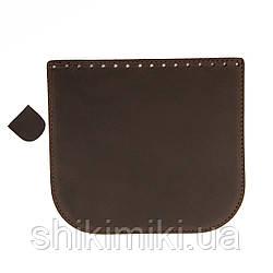 Клапан для сумки из натуральной кожи (20*18), цвет коричневый матовый