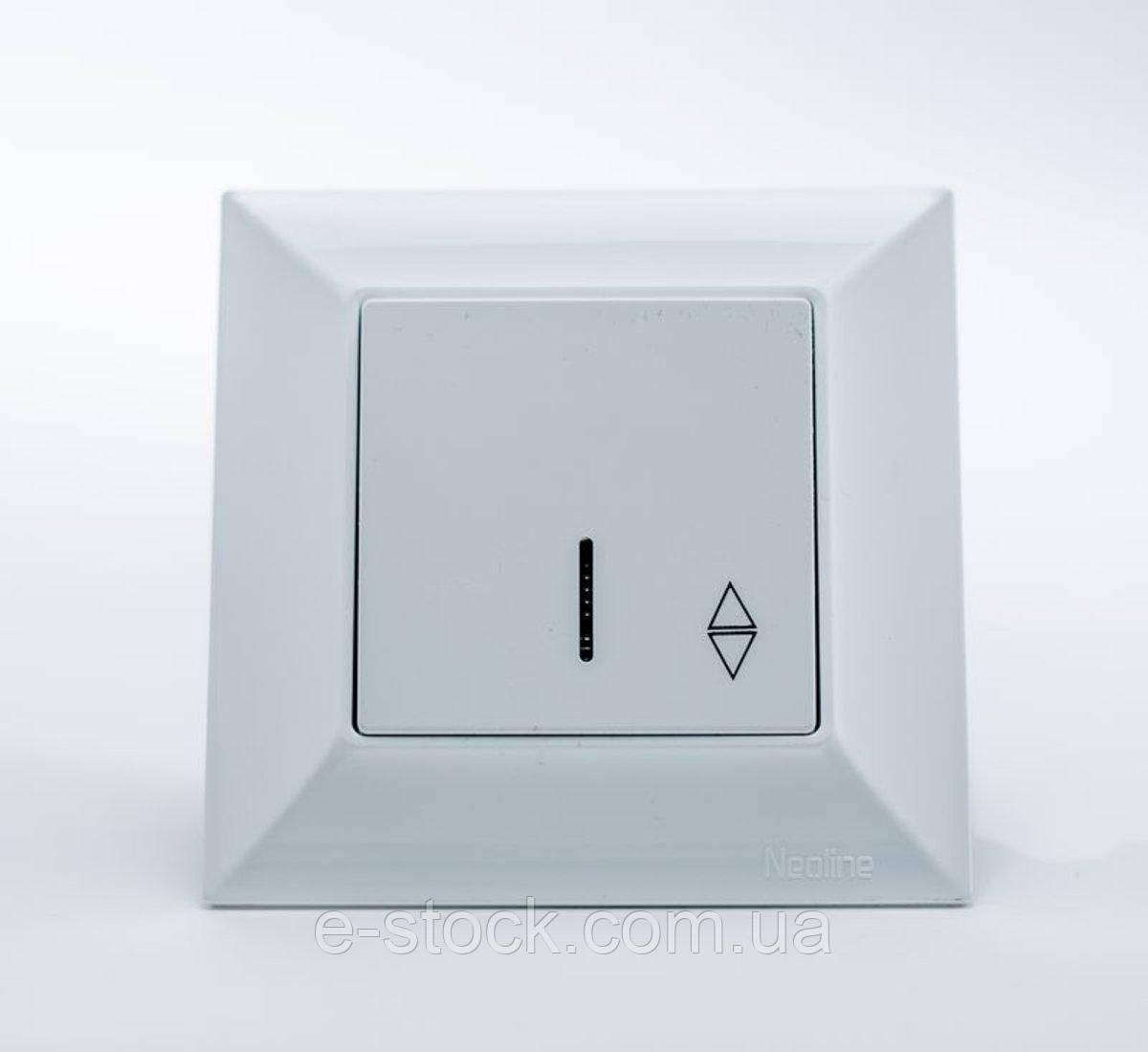 Neoline переключатель 1-ый с подсветкой белый