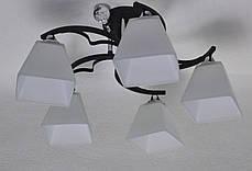 Люстра на 5 ламп чорна основа білі плафони, фото 3