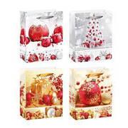 """Пакет подарочный бумажный M """"Christmas toys"""" 26*10*32см 12шт/уп"""