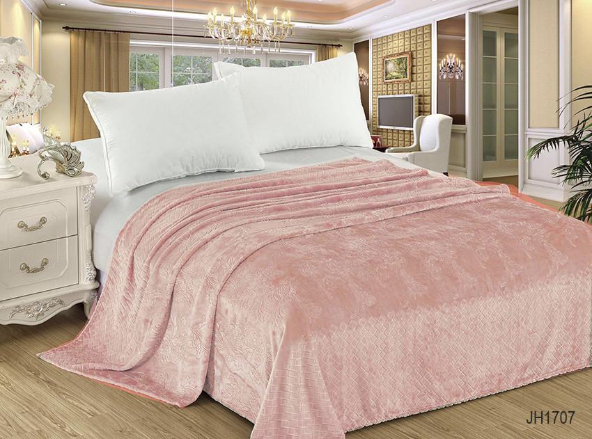 Плед покрывало 160х220 велсофт Пудра на кровать, диван