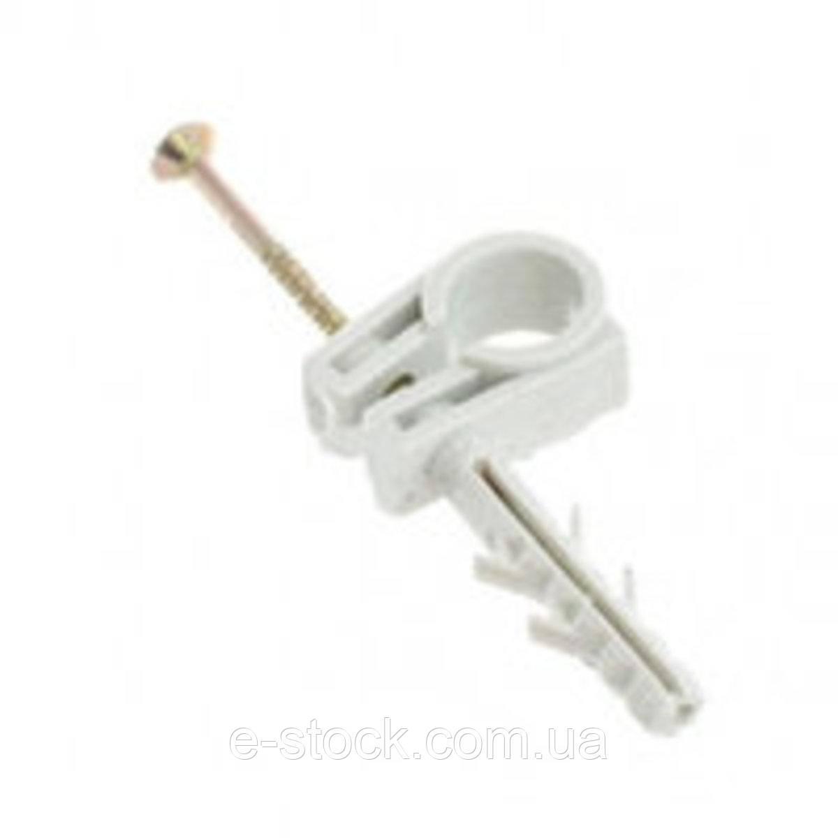 Обойма Lectris для труб і кабелю Ø25-27мм з ударним шурупом, 25шт