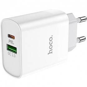Мережевий зарядний пристрій Hoco C80A Rapido 3.1 A-18W PD / QC3.0 з кабелем Type-C (PD) - White