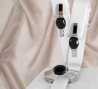 """Срібний набір сережки і кільце з золотими вставками і чорними фіанітами """"311 """", фото 1"""