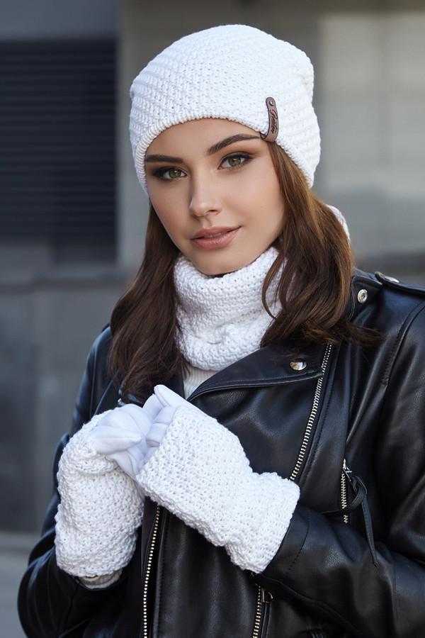 Женский комплект шапка с перчатками и бафом,белый