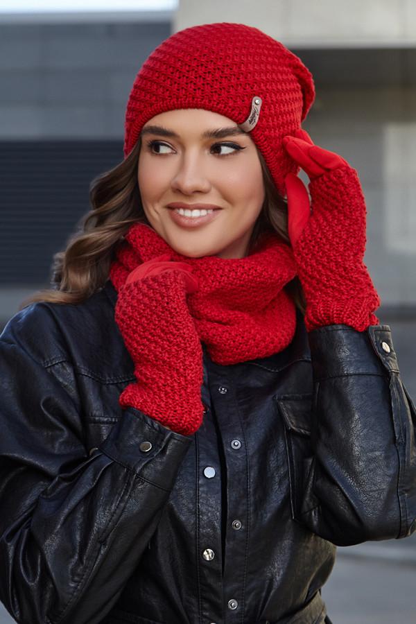 Женский комплект шапка с перчатками и бафом,красный