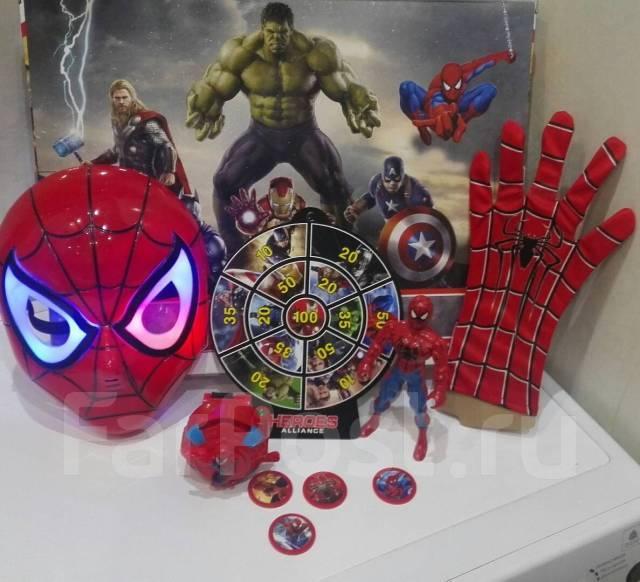 Игровой набор супергероя - Спайдермена (человека паука) маска, фигурка, дискомет, метательные диски.