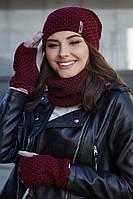 Женский комплект шапка с перчатками и бафом,белый,бордовый