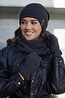 Женский комплект шапка с перчатками и бафом,графит, фото 1