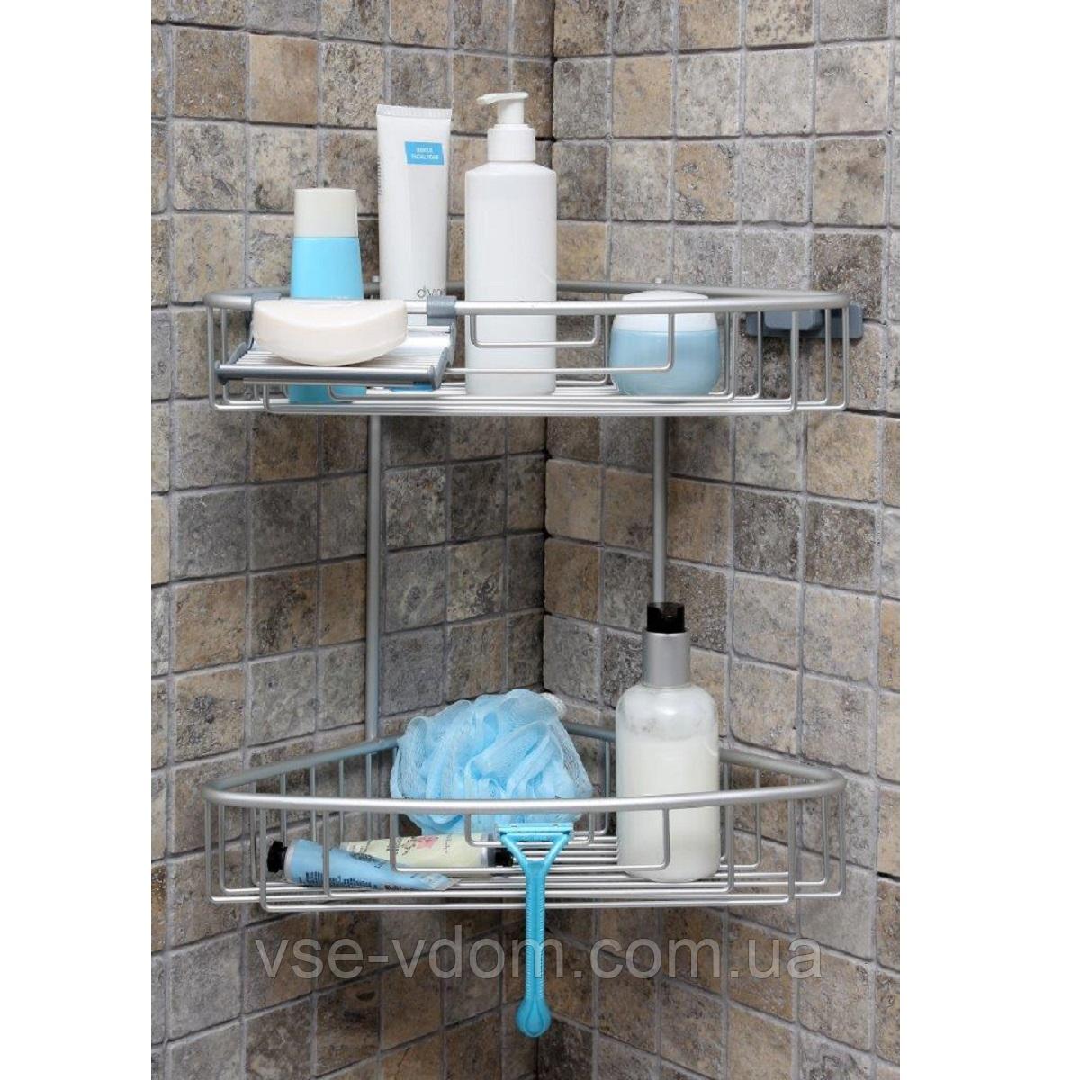 Полка для ванной двухъярусная алюминиевая