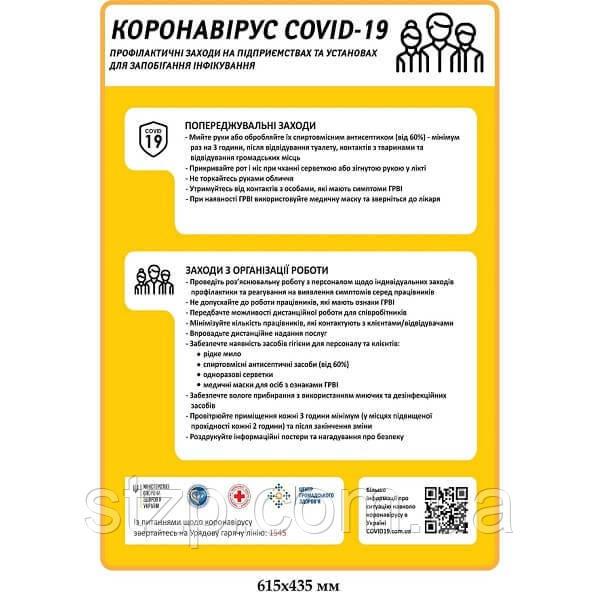 Плакат Профилактика коронавируса на предприятиях, мероприятия по организации работы желтый фон