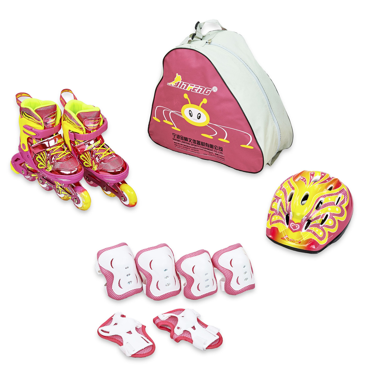 Набор роликовые коньки со шлемом и защитой JINGFENG розовый 189