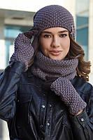 Женский комплект шапка с перчатками и бафом,темный кофе