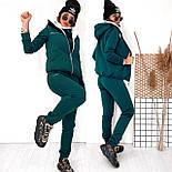 Женский костюм на флисе-двойка: толстовка, штаны и жилет на меху (в расцвветках), фото 7