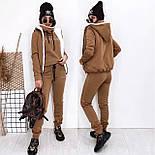 Женский костюм на флисе-двойка: толстовка, штаны и жилет на меху (в расцвветках), фото 10