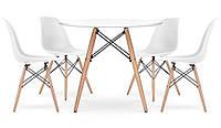 Стол обеденный круглый Bonro В-957-600 + 4 белых кресла B-173, фото 1