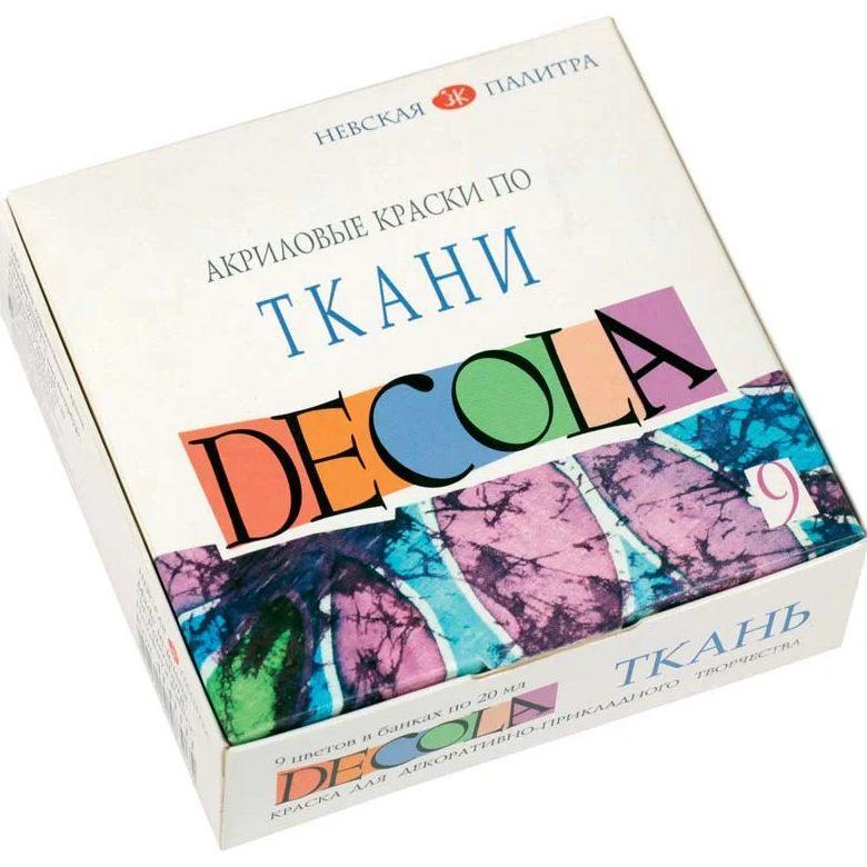 Краска акриловая для ткани Decola ЗХК Невская Палитра набор 9цв. по 20мл 4141111