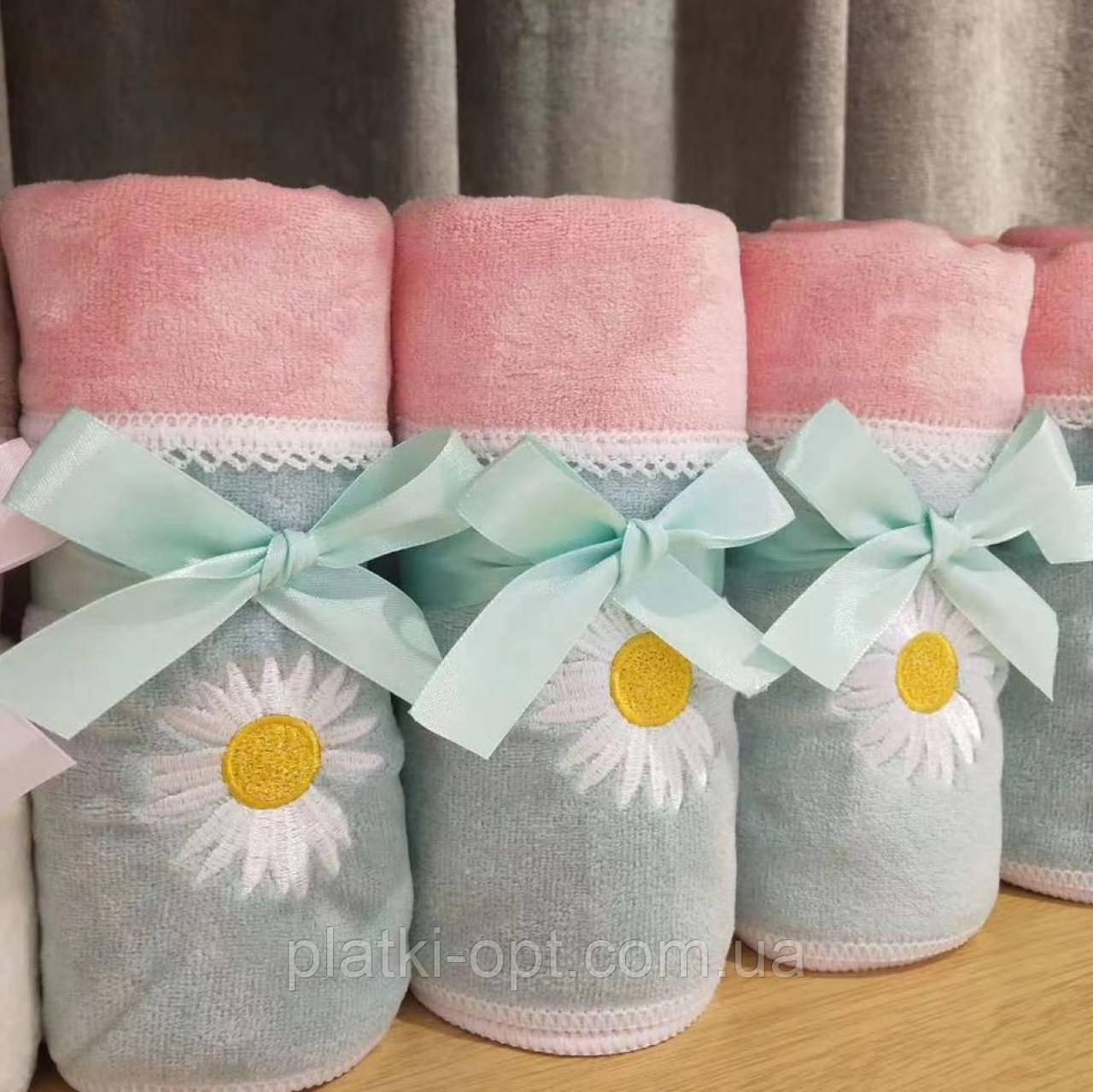 Комплект полотенец Ромашка (микрофибра) розовый+бирюза