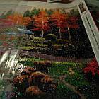 Алмазная вышивка домик на природе 120х50 см, круглые стразы, полная выкладка, фото 8