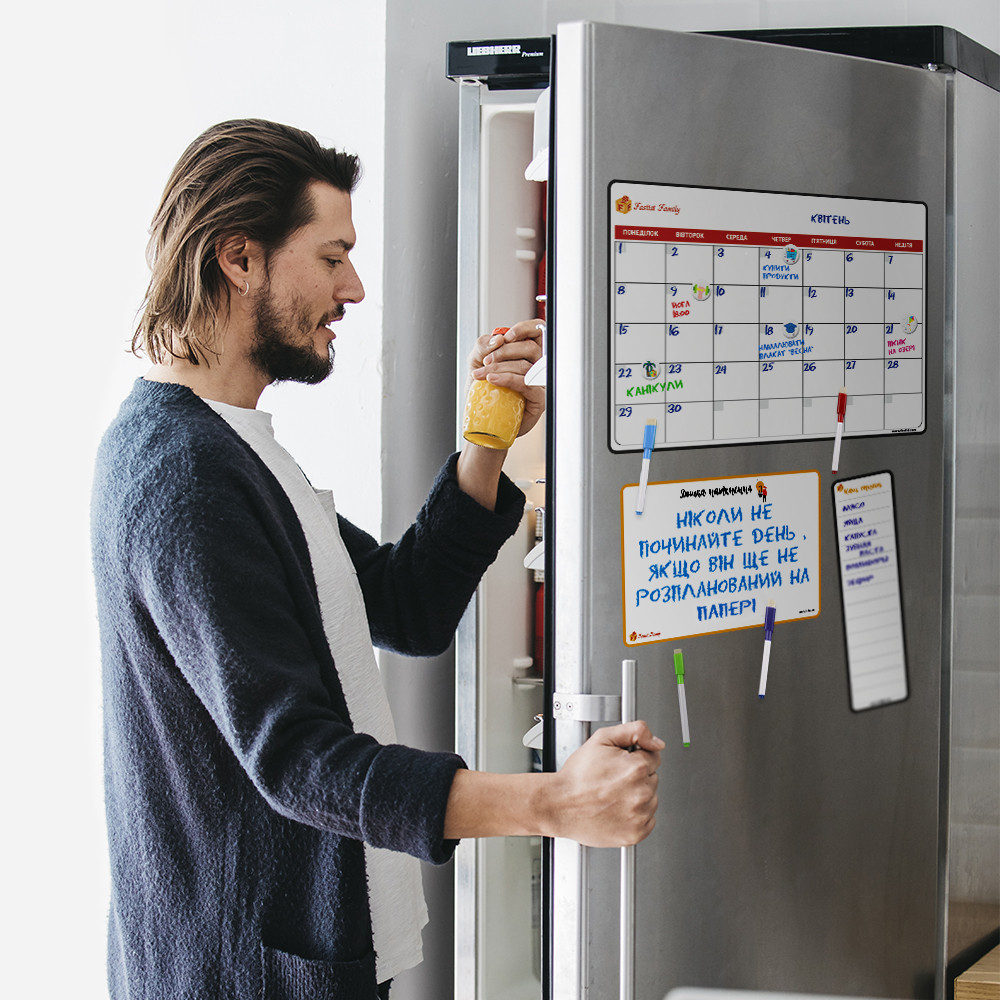 Магнитный календарь на холодильник с маркерами (Календарь, для записей, наш список)