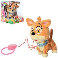 Собачка на поводке, мягкая интерактивная игрушка 18 см, M 4283