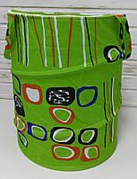 Корзина для игрушек, салатовая, кружочки М1302