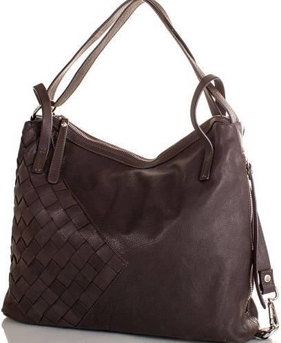 Актуальная  женская сумка из натуральной кожи  LILOCA (ЛИЛОКА) LC10294darkbrown (коричневый)