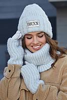 Стильный и теплый Женский комплект шапка с перчатками и бафом, фото 1