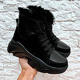 Ботинки с мехом черные, фото 2