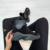 Ботинки с мехом черные, фото 3