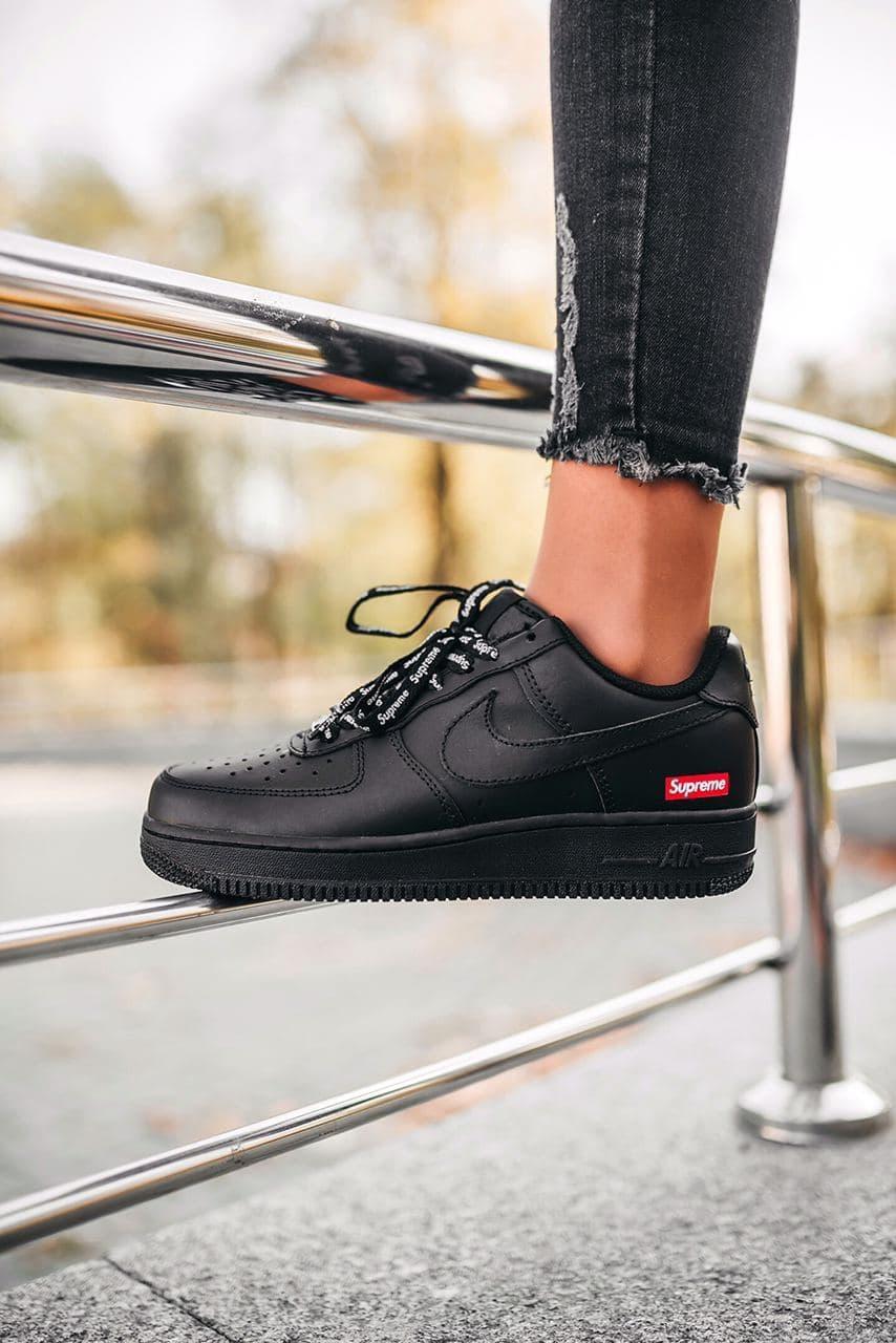 Женские черные Кроссовки Nike Air Force 1 Supreme