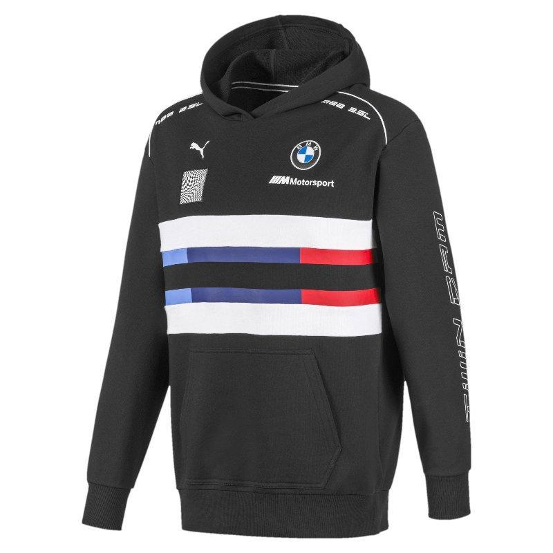 Худи толстовка спортивная мужская Puma BMW M Motorsport Street 595181 01 (черная, хлопок, BMW, логотип пума)
