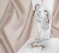 """Срібний набір серги + кільце з золотими вставками і фіанітами """"310"""", фото 1"""