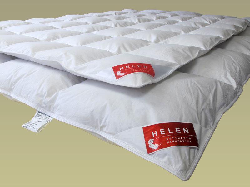 Одеяло пуховое HELEN 172×205 см кассетное ( белый пух 100% ) 1100г белое зимнее++