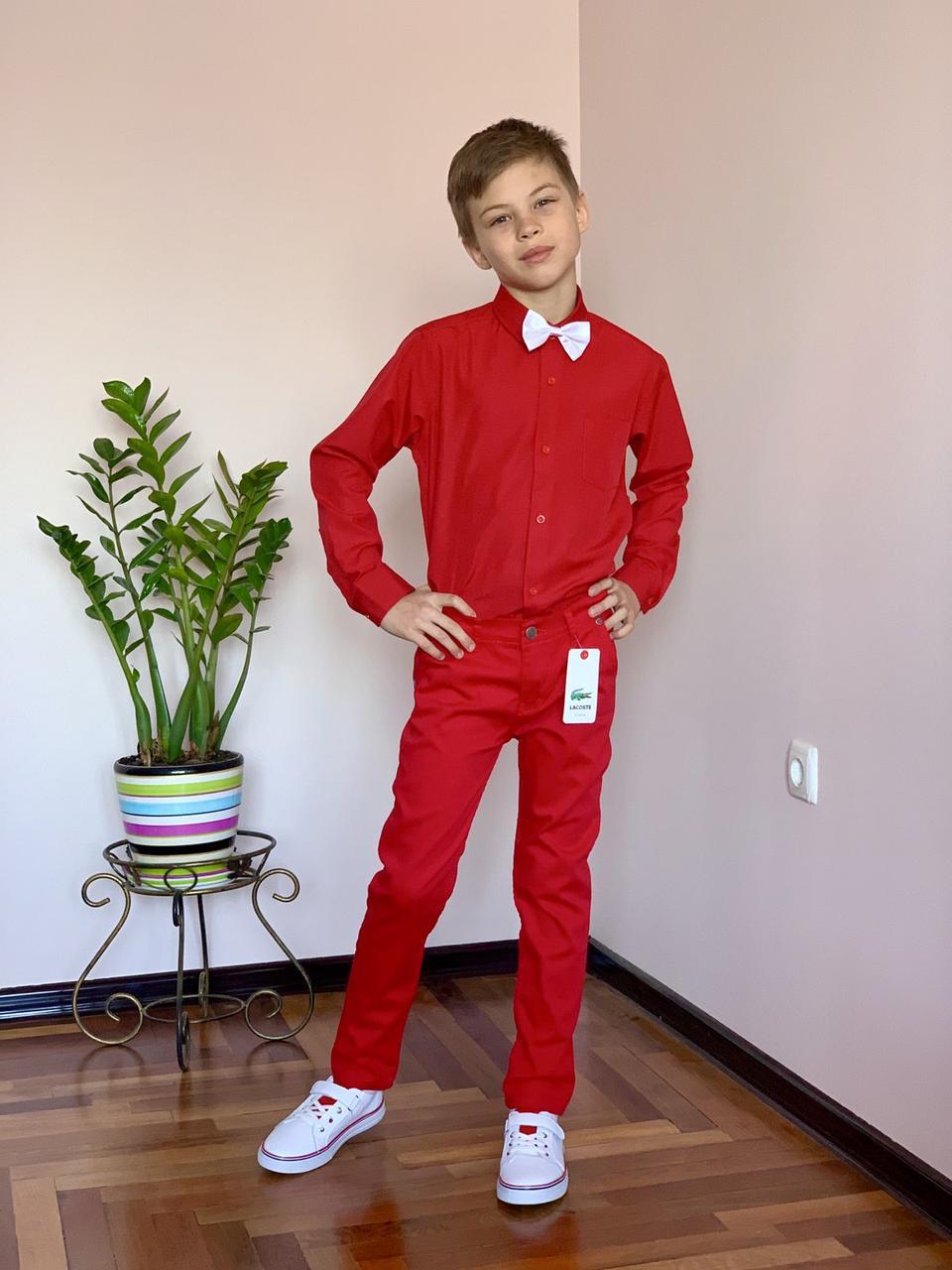 Красные брюки Lacoste для мальчиков